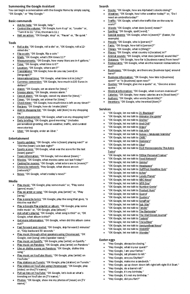 Google Home Voice Command Cheat Sheet   All About Nothing